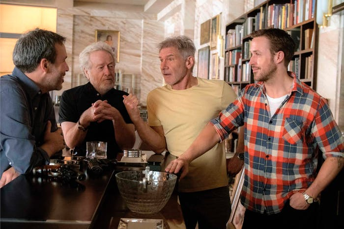 Villeneuve, Scott, Ford, and Gosling palling around on the set of 'Blade Runner 2049'