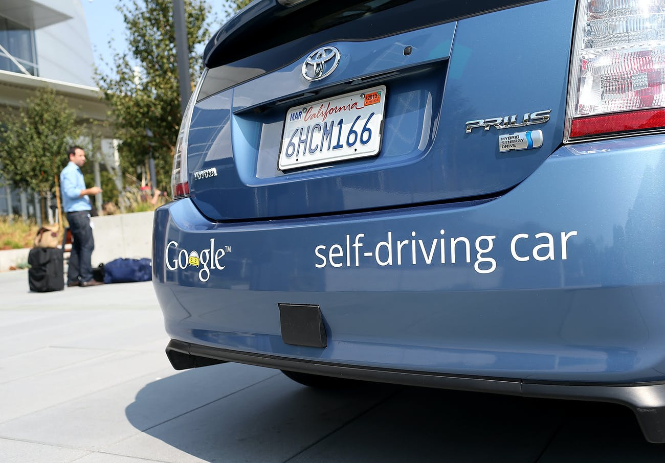 MOUNTAIN VIEW, CA - SEPTEMBER 25: A Google self-driving car is displayed at the Google headquarters on September 25, 2012 in Mountain View, California. California Gov. Jerry Brown signed State Senate Bill 1298 that allows driverless cars to operate on public roads for testing purposes. The bill also calls for the Department of Motor Vehicles to adopt regulations that govern licensing, bonding, testing and operation of the driverless vehicles before January 2015. (Photo by Justin Sullivan/Getty Images)