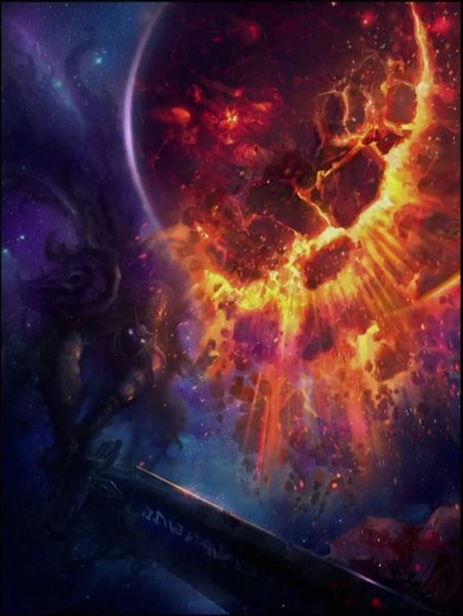Sargeras, the dark god of chaotic magic is a demonic titan who created the Burning Legion in Warcraft lore.