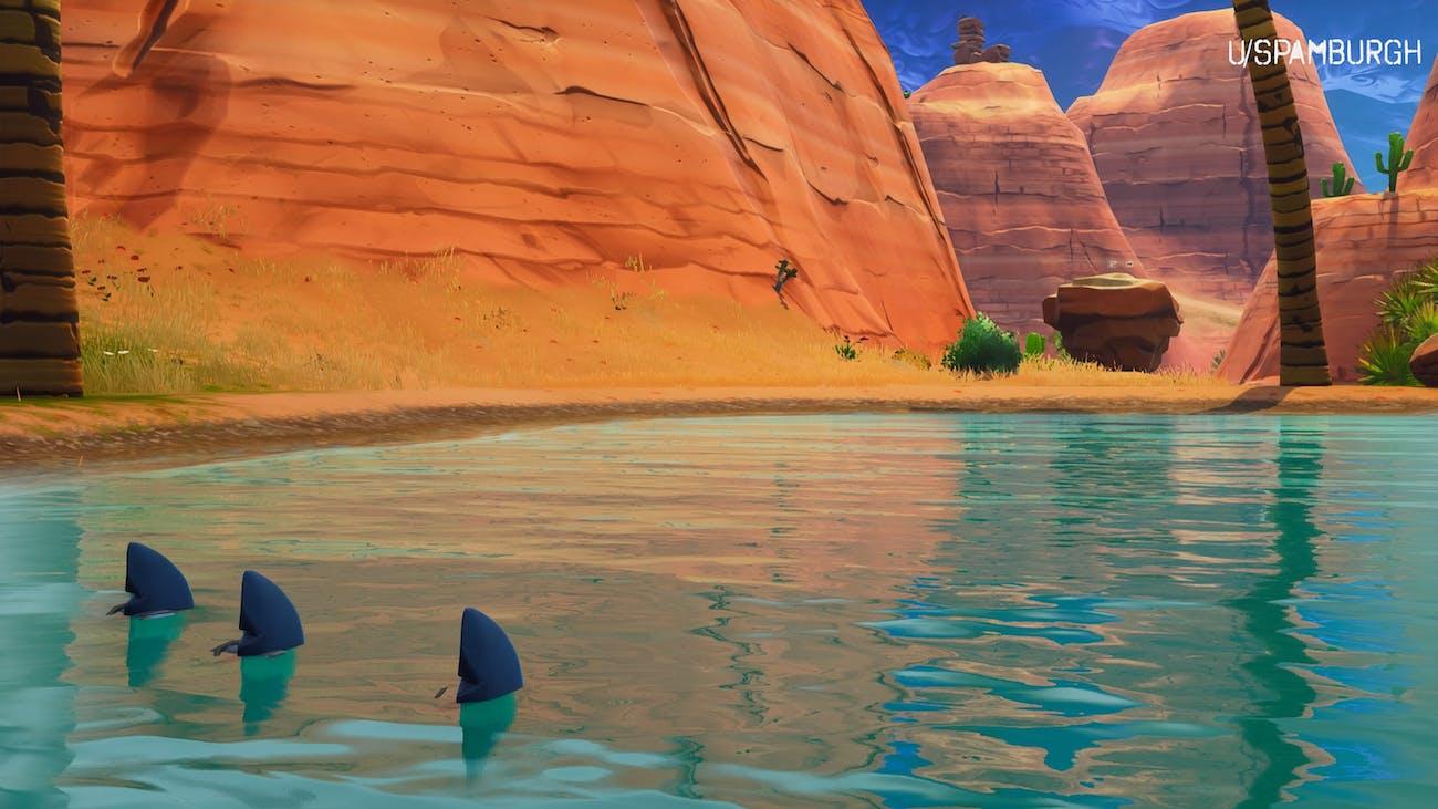 'fortnite' shark fins