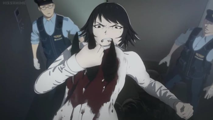 Izumi Shimomura fights off an IBM in Season 1 of the 'Ajin: Demi Human' anime.