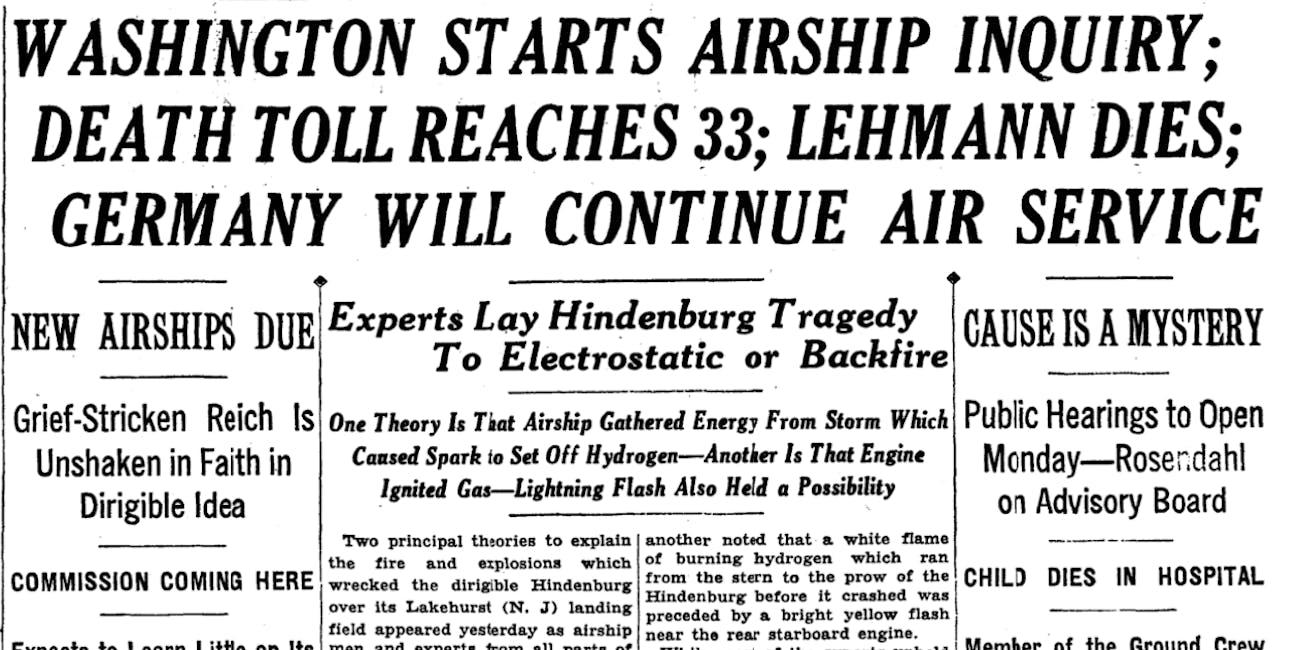 The Hindenburg crash marked the end of the zeppelin era.