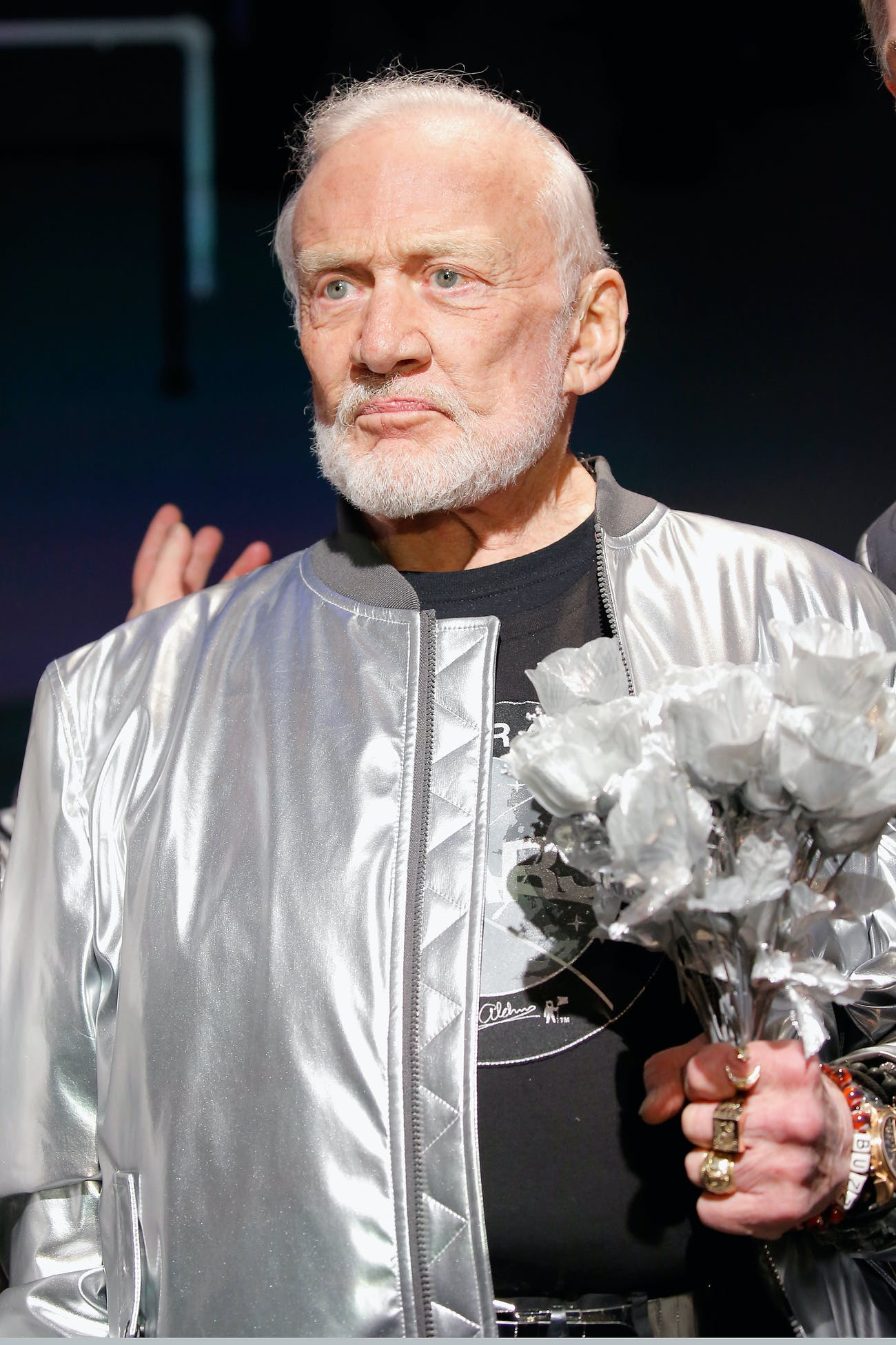 Buzz Aldrin poses on the runway at the Nick Graham NYFW Men's F/W '17 show on January 31, 2017.