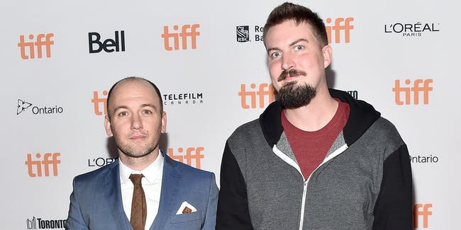 TORONTO, ON - SEPTEMBER 11: Writer/co-producer Simon Barrett  (L) and director Adam Wingard attend the 'Blair Witch' premiere during the 2016 Toronto International Film Festival at Ryerson Theatre on September 11, 2016 in Toronto, Canada.  (Photo by Alberto E. Rodriguez/Getty Images)