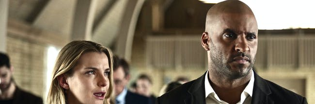 Betty Gilpin as Audrey and Ricky Whittle as Shadow in 'American Gods'