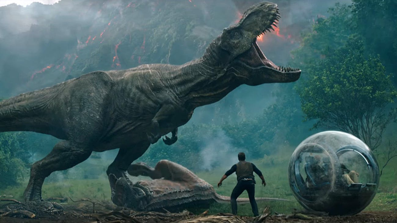 Chris Pratt's Owen encounters the same T. rex that's been around for decades.