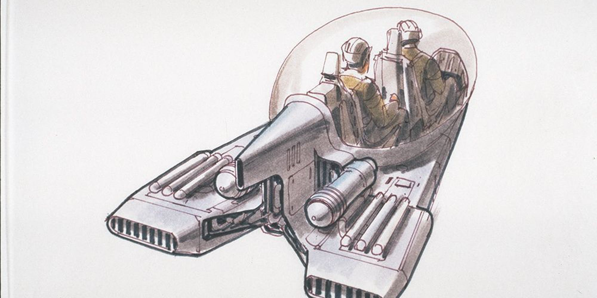"""""""Pod car"""" and """"shuttle"""" concepts by McQuarrie (no. 68), December 1977"""