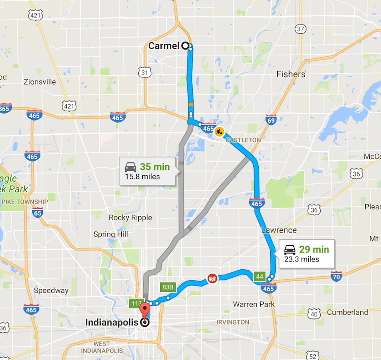 Carmel Indiana Indianapolis map drive time suburb city roundabouts urban planning design