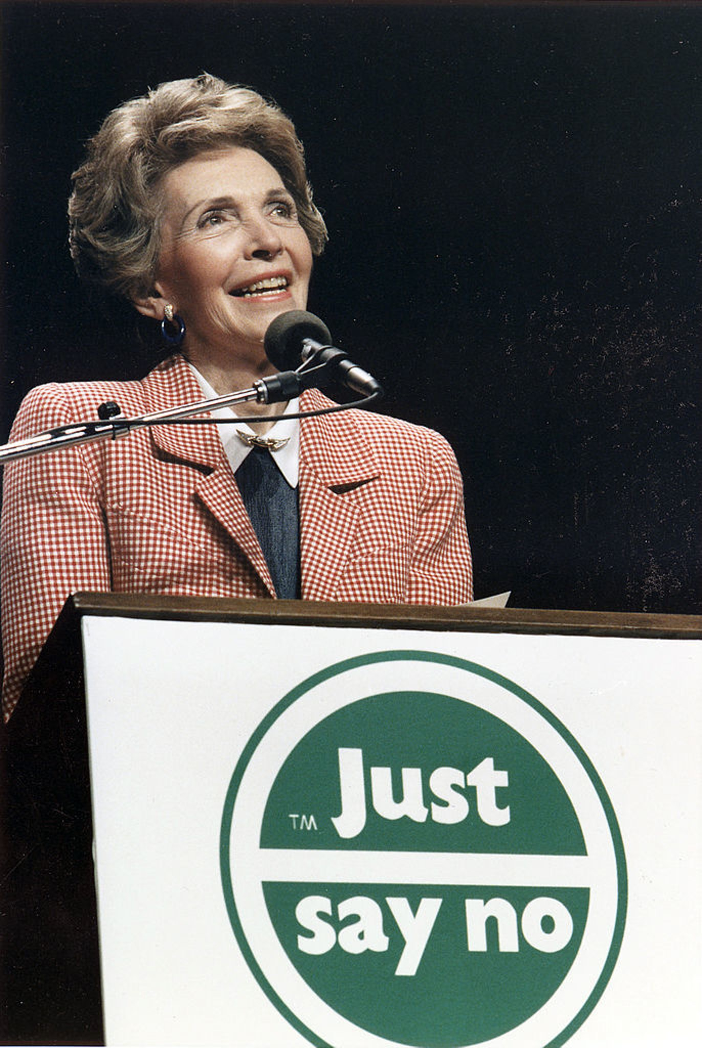Nancy Reagan urges America to 'just say no' to drugs in 1987.