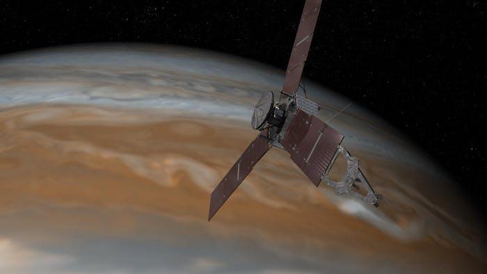 Artist's rendering of Juno in orbit around Jupiter.