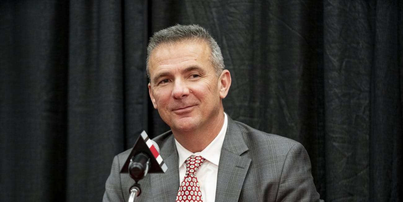 Head football coach Urban Meyer reacts to a question from a member of the media during the Urban Meyer Retirement Press Conference held at Fawcett Center in Columbus, Ohio on December 4, 2018.