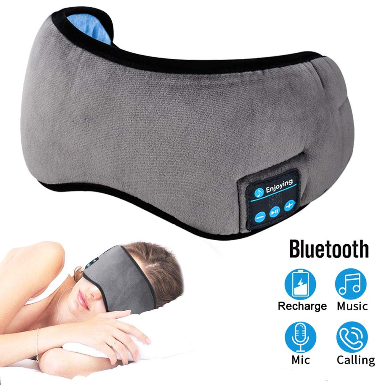 Bluetooth Eye Mask Sleep Headphones,ZesGood Music Travel Sleep Mask Wireless Bluetooth Headphones Built -in Speakers Microphone Handsfree Adjustable and Washable