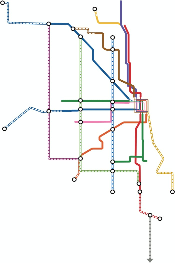 Chicago's imagined rail system according to Transit Future.