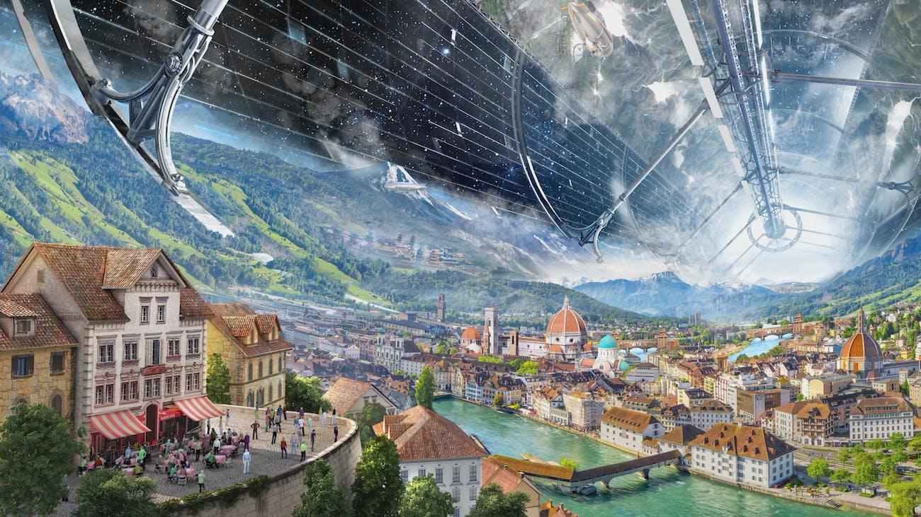 A future space colony city.