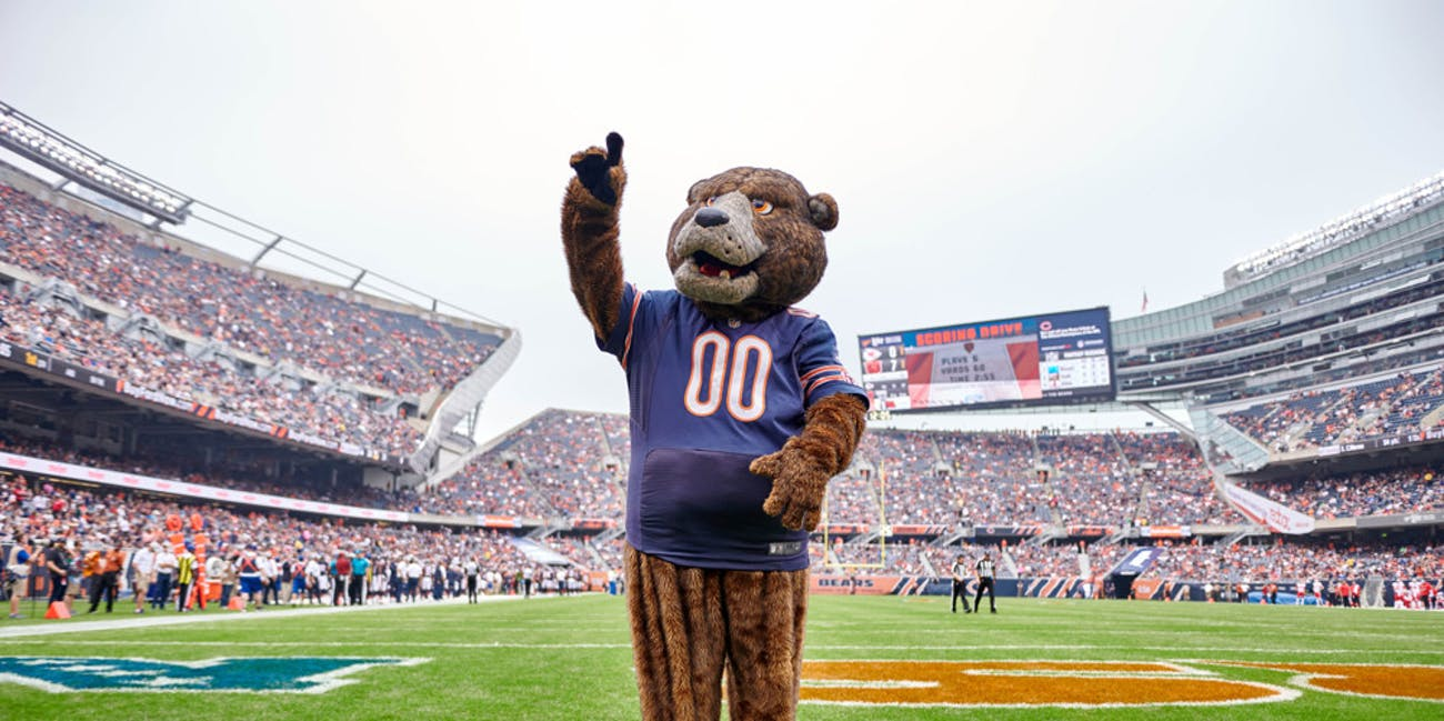 Chicago Bears mascot Staley Da Bear celebrates with fans during game action in a preseason NFL game between the Kansas City Chiefs and the Chicago Bears on August 25, 2018 at Soldier Field in Chicago IL.