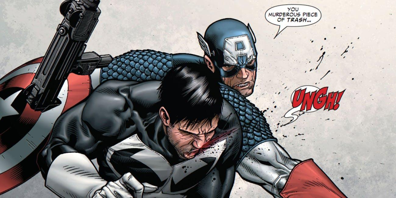 Marvel Captain America Punches Punisher