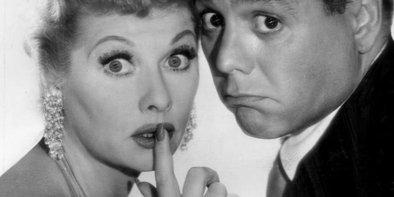 A publicity photo of Lucille Ball and Desi Arnaz for 'The Lucille Ball-Desi Arnaz Show'