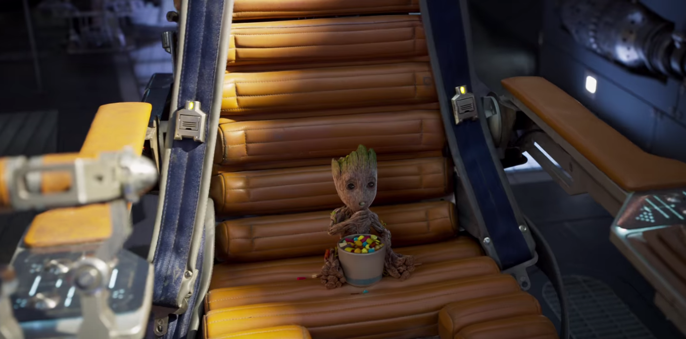 baby groot eats candy in guardians of the galaxy vol. 2