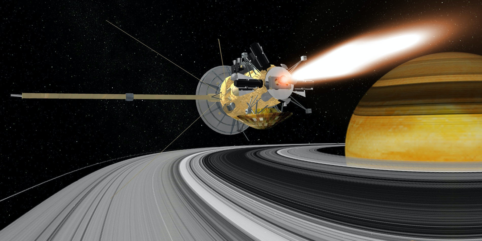 An artist rendering of the Cassini spacecraft around the rings of Saturn.