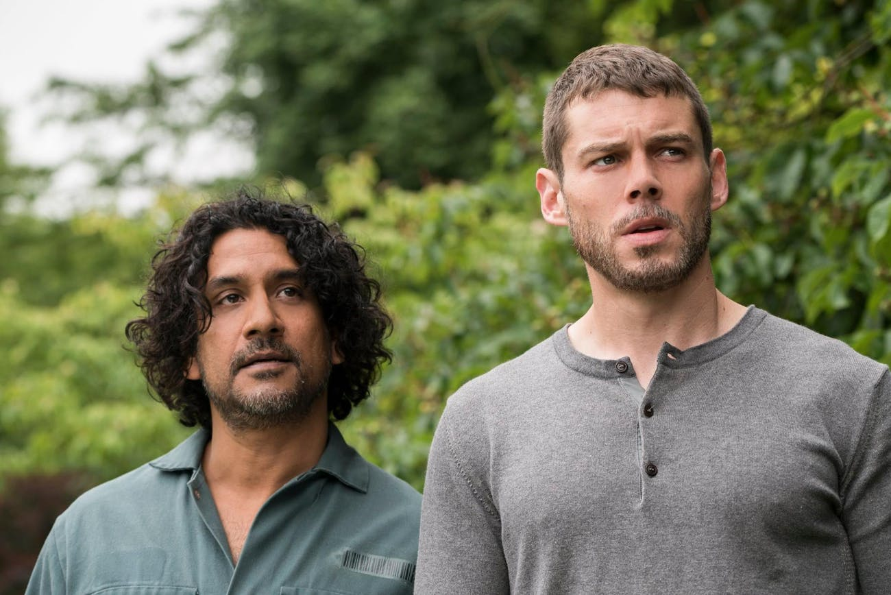 Naveen Andrews as Jonas and Brian J. Smith as Will in 'Sense8