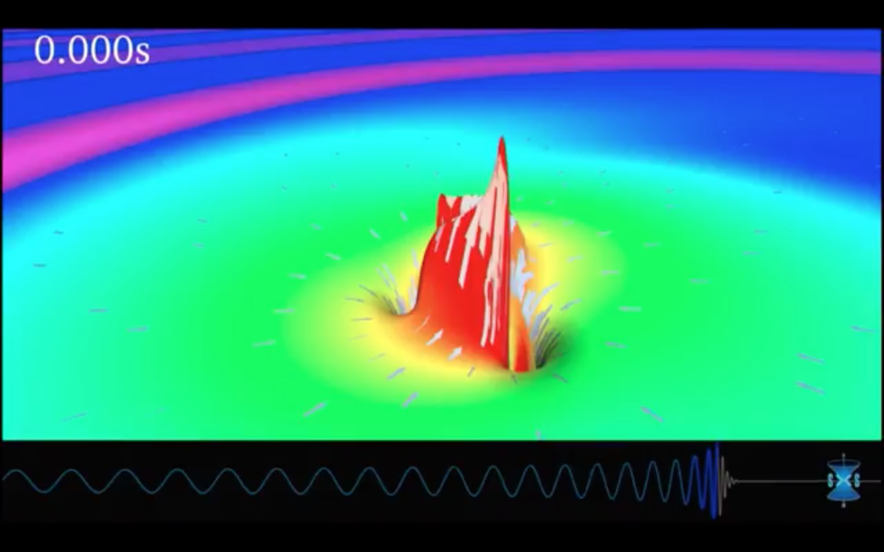 A simulation of the black hole merger event.