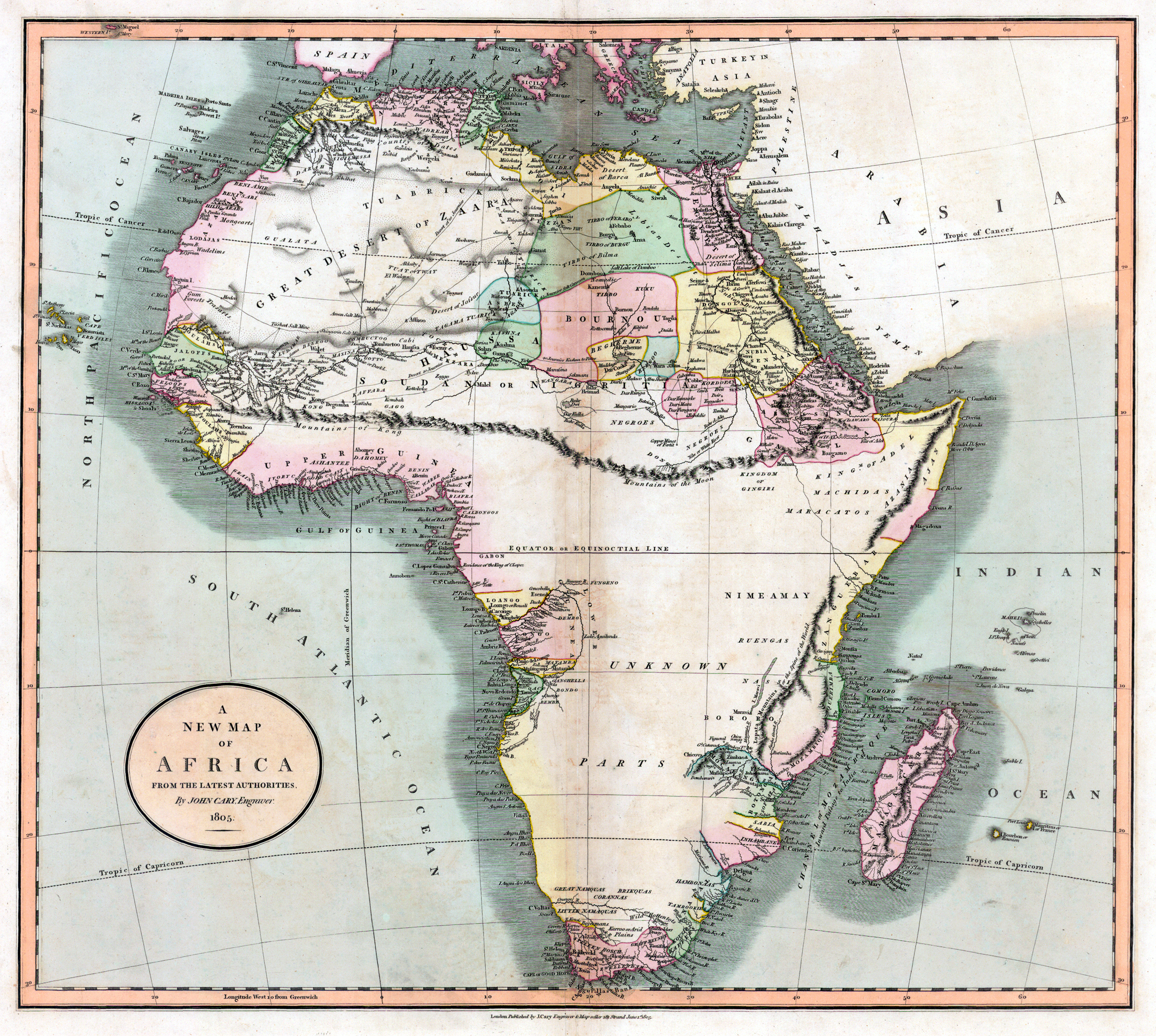 John Cary produced this oh-so-accurate map in 1805.