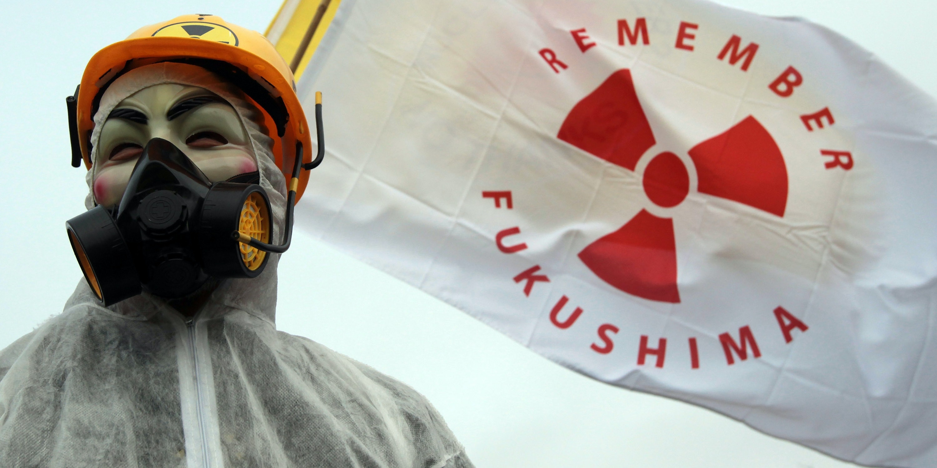 A masked protester stands in front of flags at the gates to the Hinkley Point nuclear power station to mark the first anniversary of the Fukushima disaster in Japan on March 10, 2012 near Bridgwater, England.