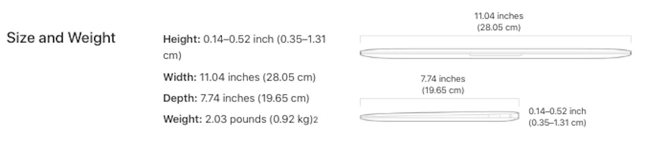 macbook 2017 dimensions
