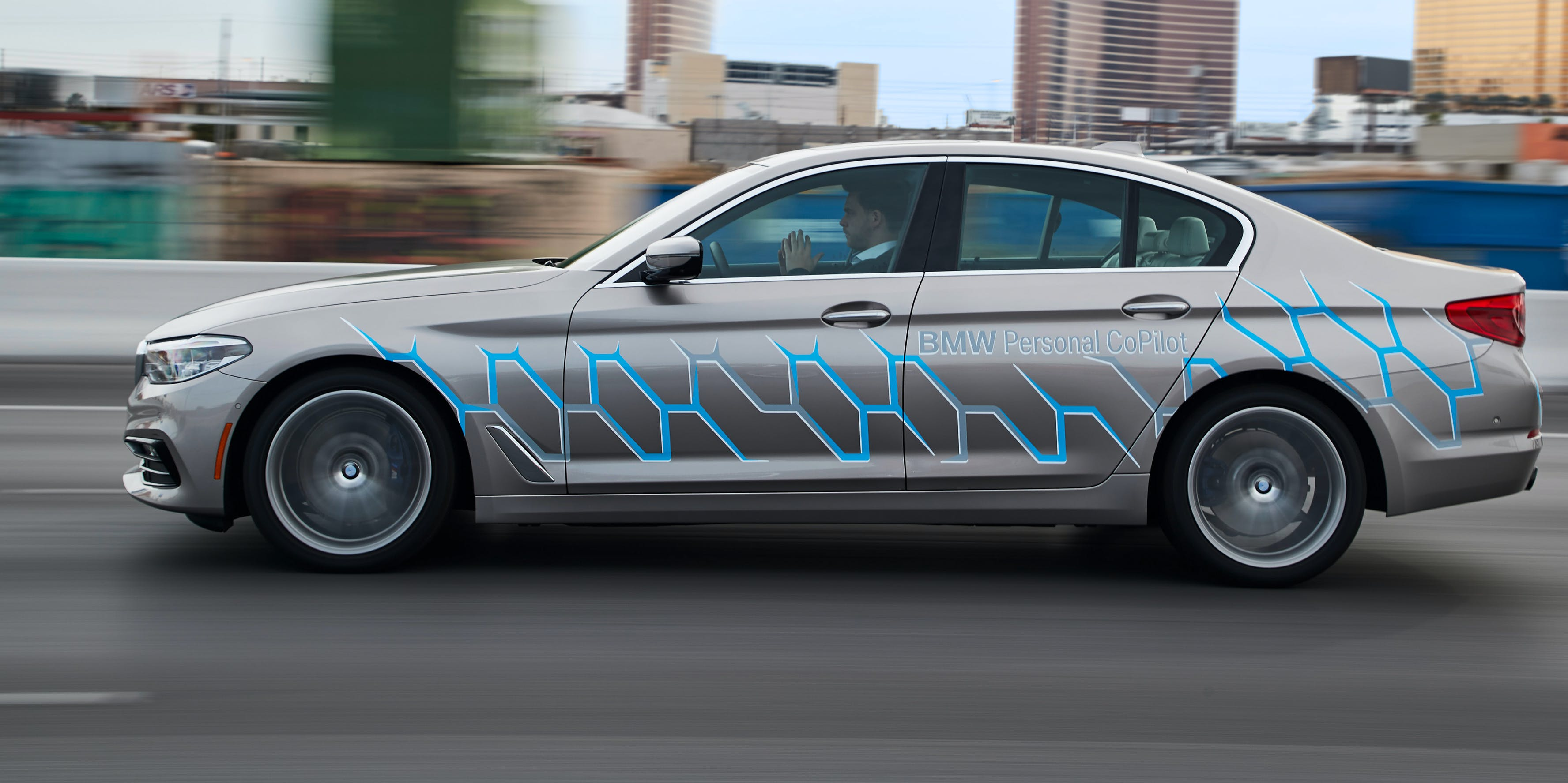 BMW showcased its BMW 5 Series Sedan-based prototype, which lets drivers take their hands off the wheel.
