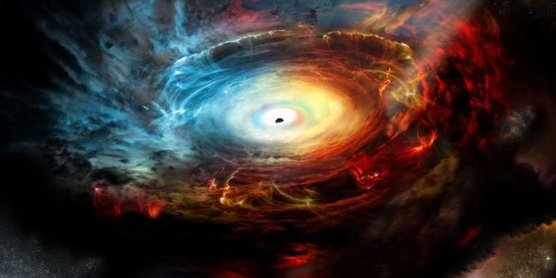"Supermassive Black Hole Hides Inside Its Own ""Exhaust"""