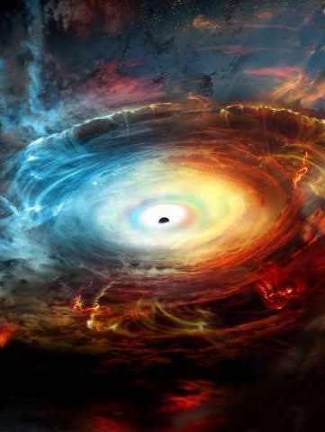 Artist's impression of the black hole at the center of Messier 77.