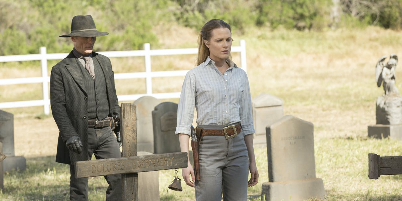 Ed Harris and Evan Rachel Wood in 'Westworld'