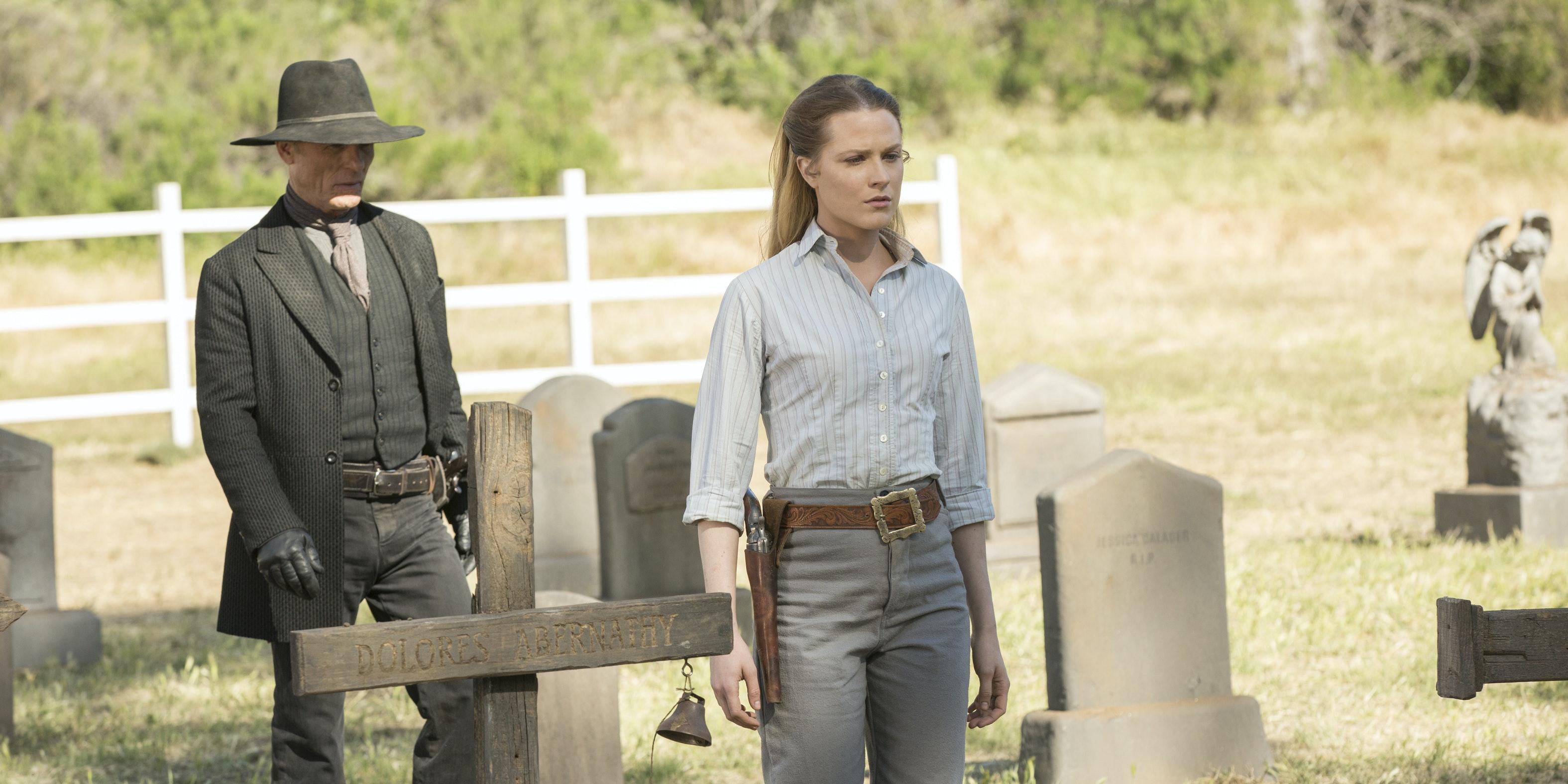 Ed Harris and Evan Rachel Wood in 'Westworld'