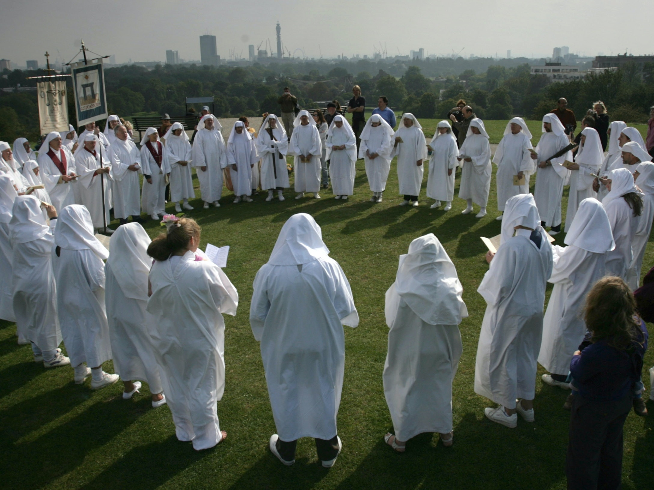 LONDON - SEPTEMBER 22:  Members of The Druid Order of London conduct a ceremony on Primrose Hill to celebrate the Autumn Equinox on September 22, 2008 in London, England. The Druid Order of London, which was founded in Oxford in 1245 has been conducting the Autumn Equinox ceremony (which celebrates the harvest and the calender day that has equal amounts of night and day) on Primrose Hill since 1717.  (Photo by Matt Cardy/Getty Images)