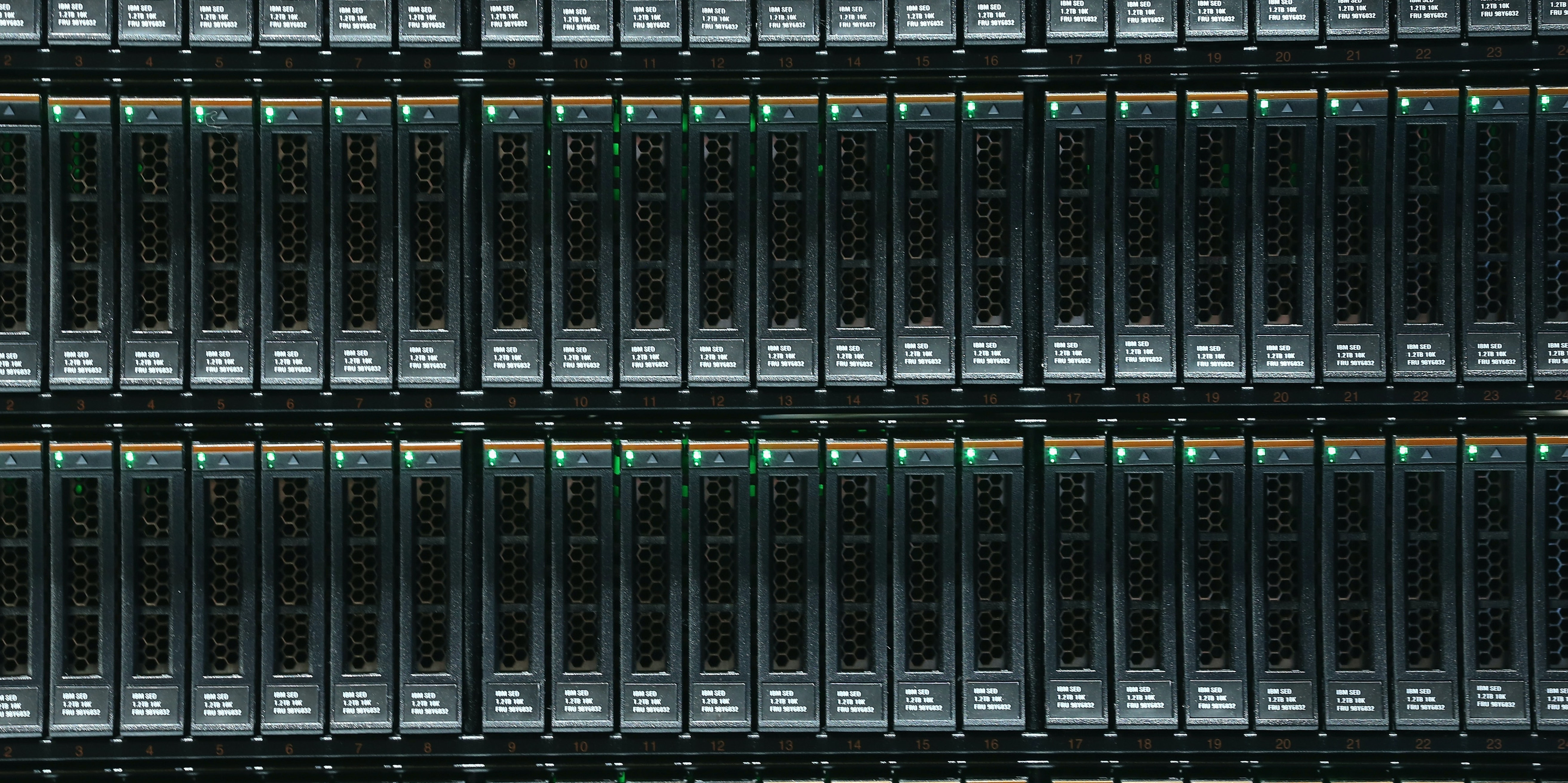 Units for storing digital data lie plugged into an IBM System Storage DS8870 mainframe at the 2015 CeBIT technology trade fair on March 16, 2015 in Hanover, Germany. China is this year's CeBIT partner. CeBIT is the world's largest tech fair and will be open from March 16 through March 20.