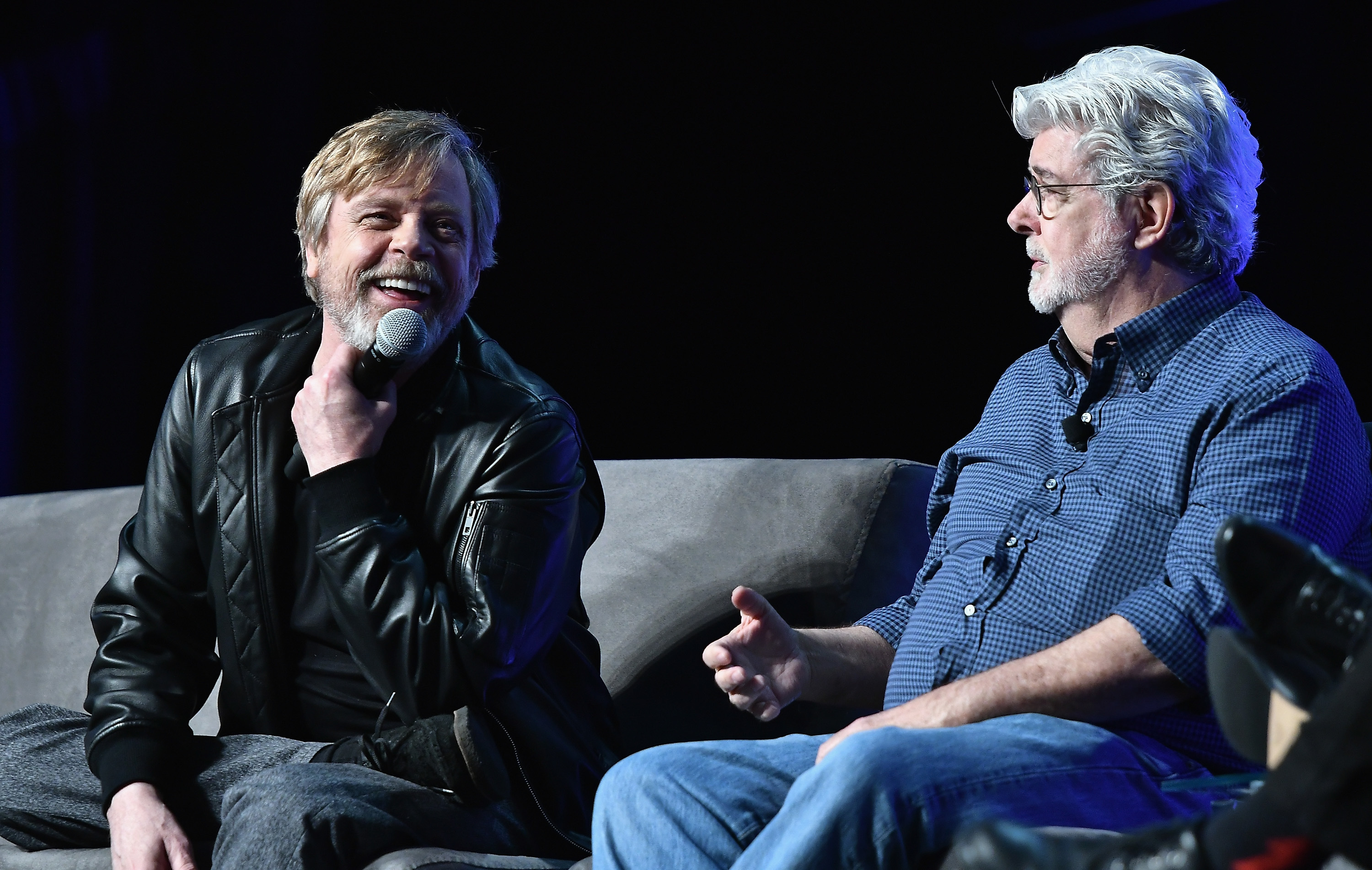 ORLANDO, FL - APRIL 13:   Mark Hamill and George Lucas attend the Star Wars Celebration Day 1 on April 13, 2017 in Orlando, Florida.  (Photo by Gustavo Caballero/Getty Images)
