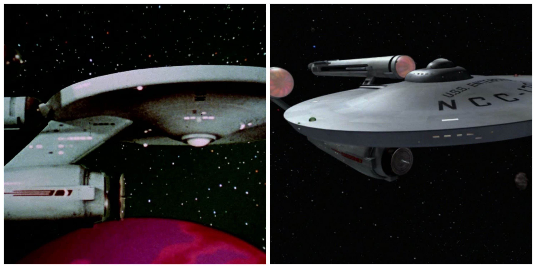 "LEFT: The Enterprise in ""Mirror, Mirror"" in 1967.  RIGHT: The Enterprise in the 2007 Remastered version of ""The Doomsday Machine."""