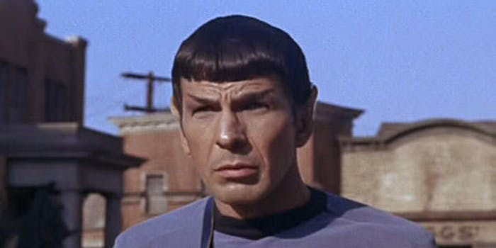 Spock holding a tricorder in the original series Star Trek.