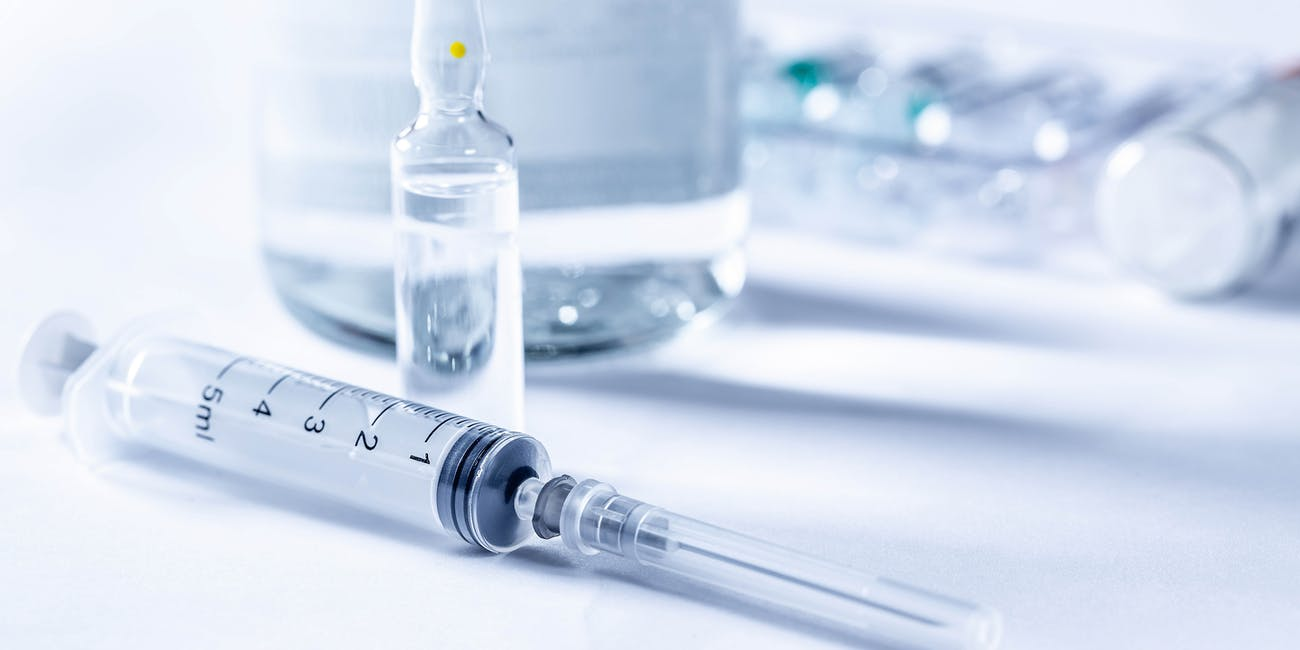 Injectable drugs in bottle and ampoules and syringe