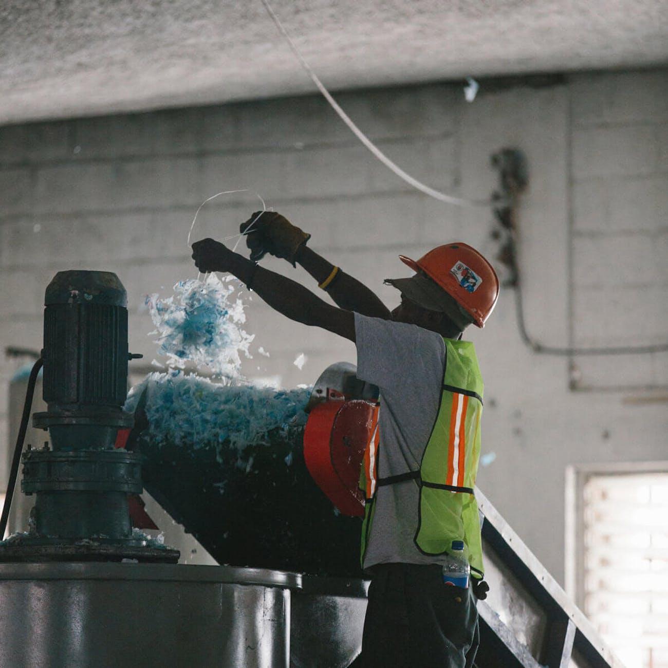 Processing the plastic.