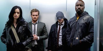 Krysten ritter, Finn Jones, Chalie Cox, and Mike Colter in 'The Defenders'