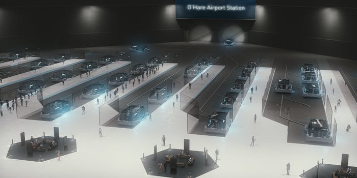Boring Company station to O'Hare in Chicago