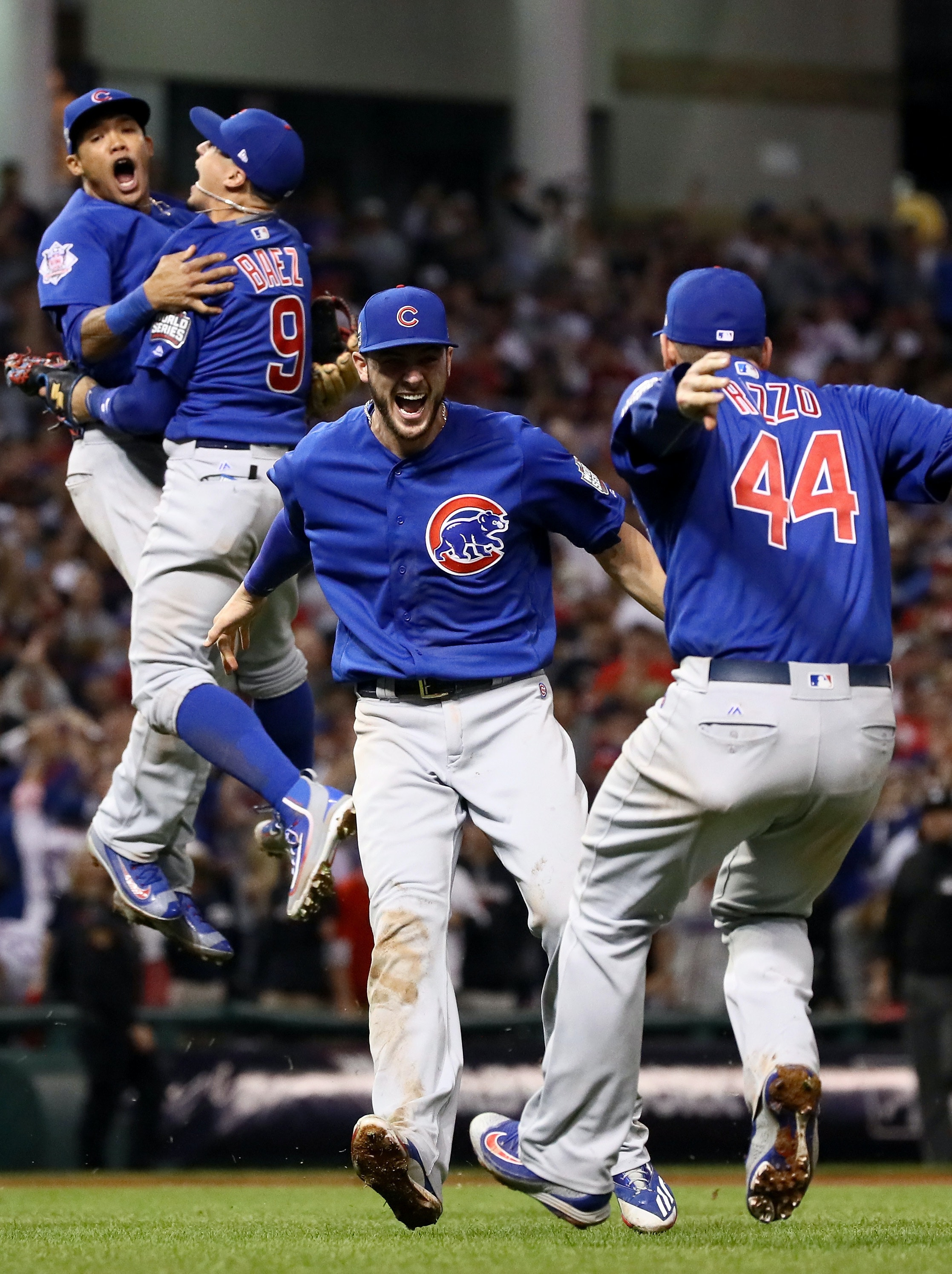 CLEVELAND, OH - NOVEMBER 02:  The Chicago Cubs celebrate after defeating the Cleveland Indians 8-7 in Game Seven of the 2016 World Series at Progressive Field on November 2, 2016 in Cleveland, Ohio. The Cubs win their first World Series in 108 years.  (Photo by Ezra Shaw/Getty Images)