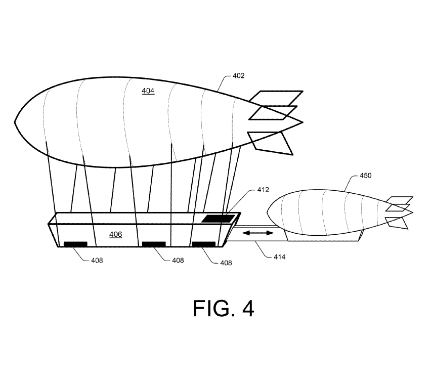 """A smaller """"shuttle"""" airship could dock with the larger warehouse."""