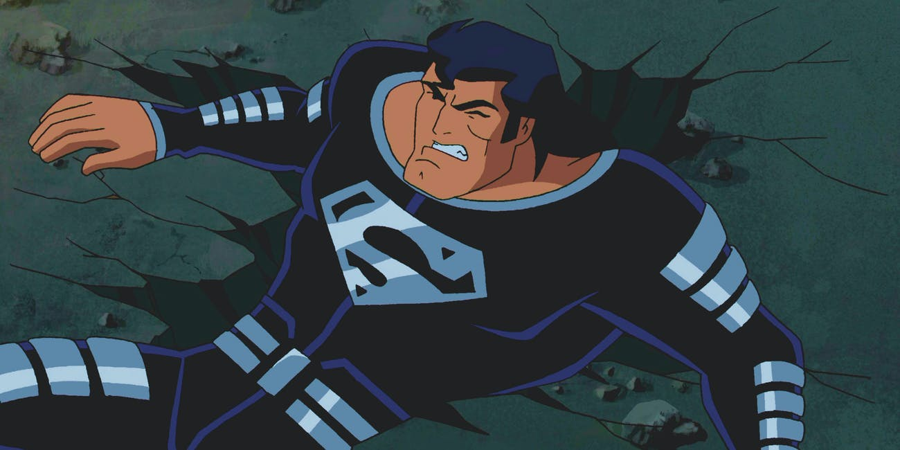 Superman in his black suit -- 'Superman: Doomsday'