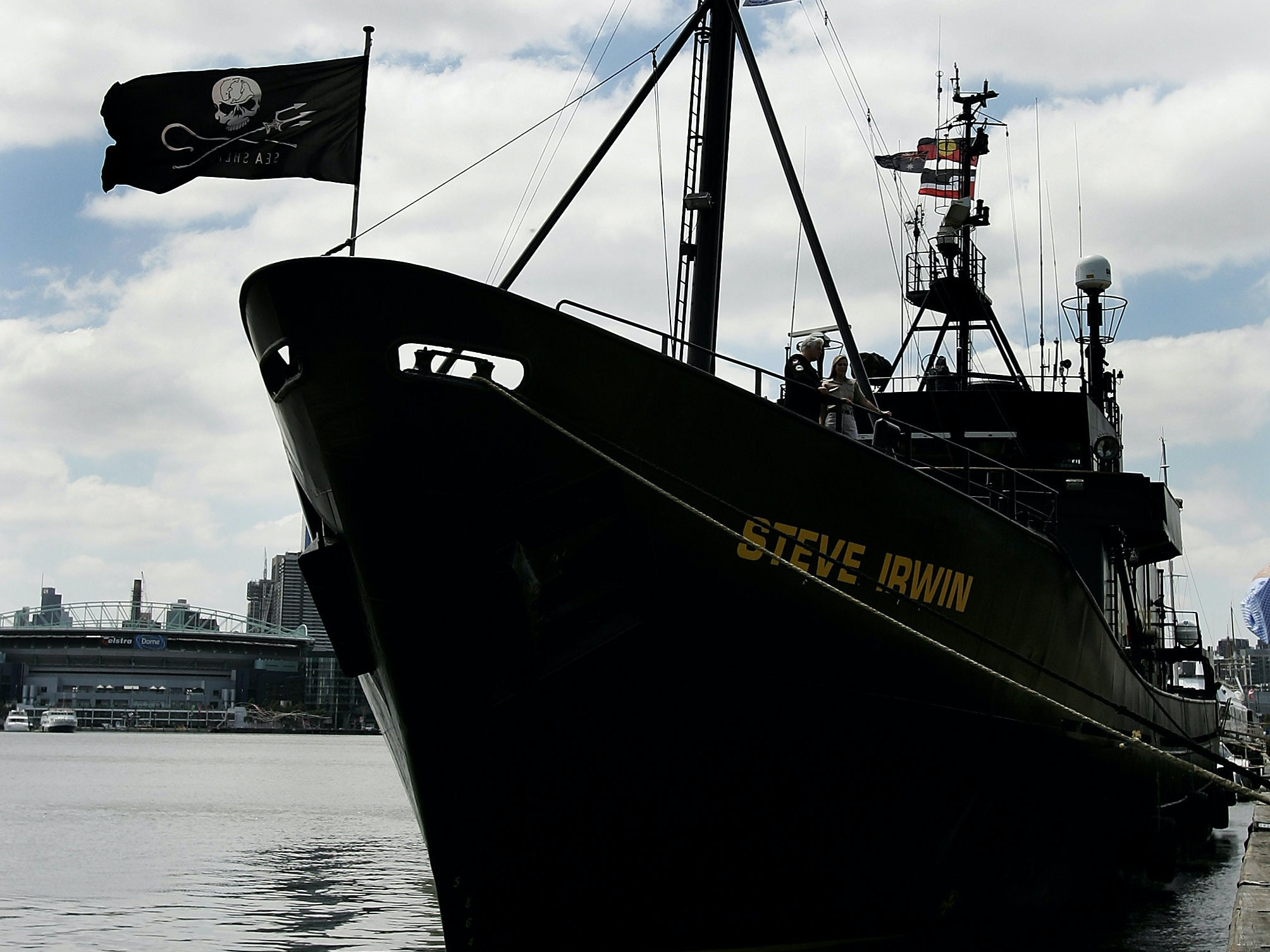 MELBOURNE, AUSTRALIA - DECEMBER 05:  Captain Paul Watson and Terri Irwin stand aboard as the Sea Shepherd Conservation Society renames its whale defending ship 'Steve Irwin' at Victoria Docks on December 5, 2007 in Melbourne, Australia. The ship leaves Melbourne for  Antarctic waters today to intervene against illegal whaling action by Japanese whaling fleets.  (Photo by Quinn Rooney/Getty Images)