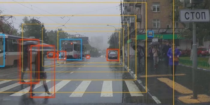 Cognitive Technologies identifying pedestrians.