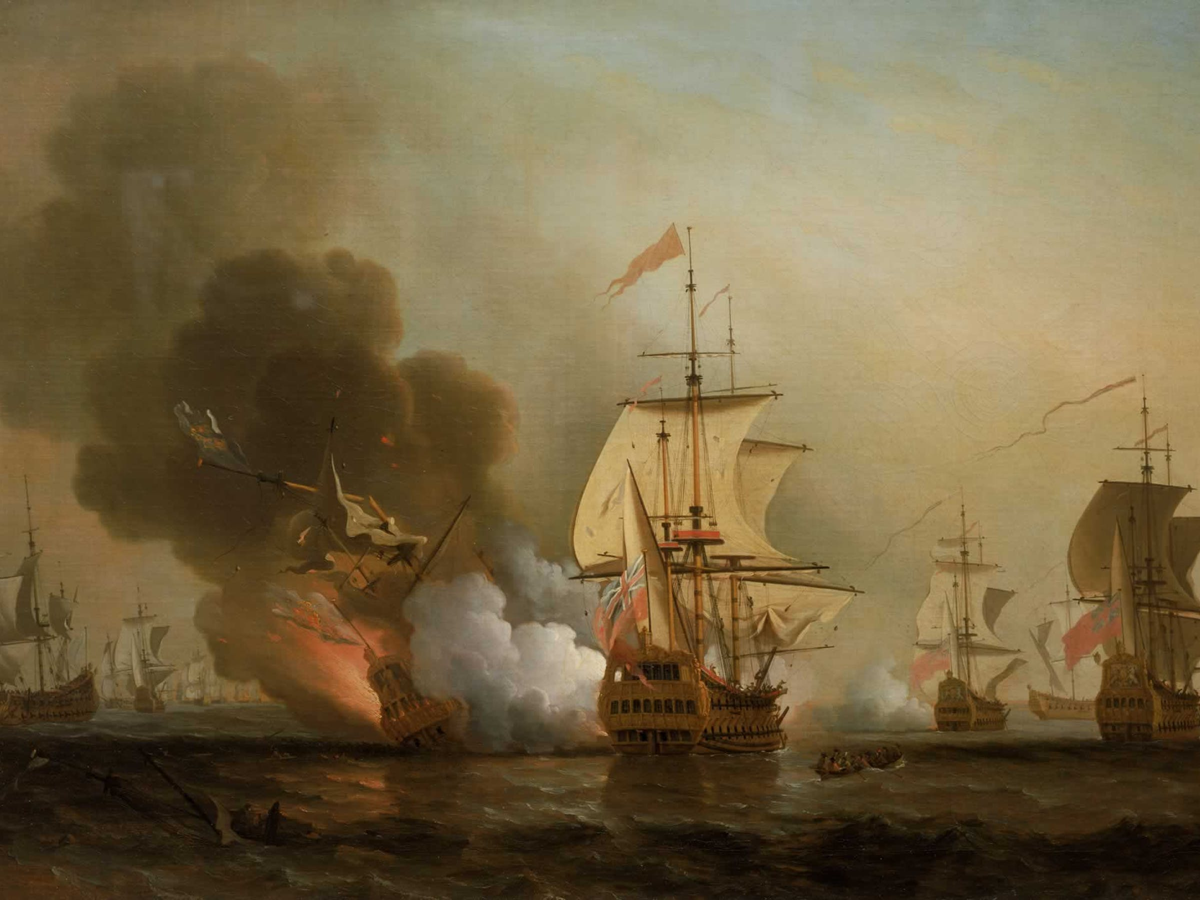 Explosion of San José during Wager's Action. Oil on canvas by Samuel Scott