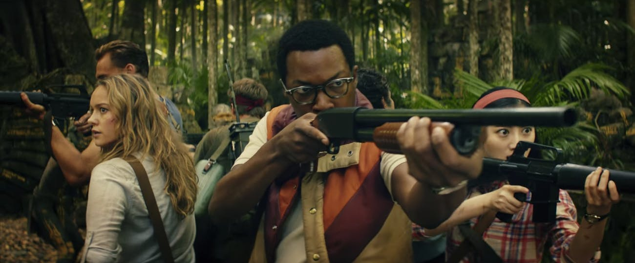 From left to right: Tom Hiddleston, Brie Larson, Corey Hawkins, and Jing Tian in Kong: Skull Island.