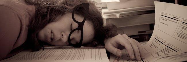 Exhaustion tired sleep work